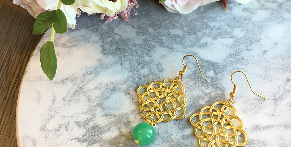 Endless Knot Large Green Aventurine Earrings