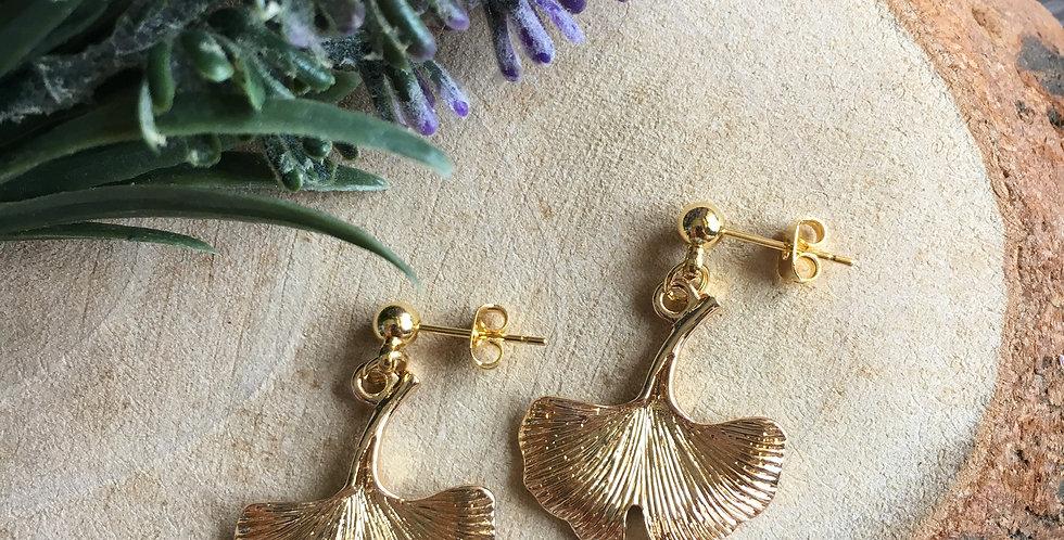 14k Gold-Tone Ginkgo Leaf Earrings II