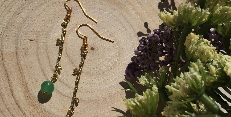 Gold-Tone Bamboo Green Aventurine Earrings