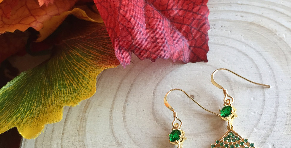 Gold-Tone Green Mini Fan Paste Crystal Earrings