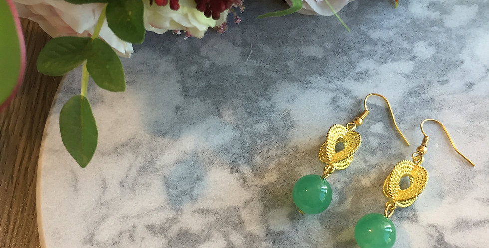 Ropetwist Green Aventurine Earrings