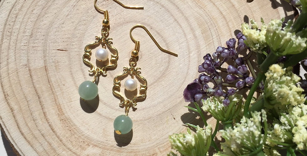 Gold-Tone Freshwater Pearl and Aventurine Earrings