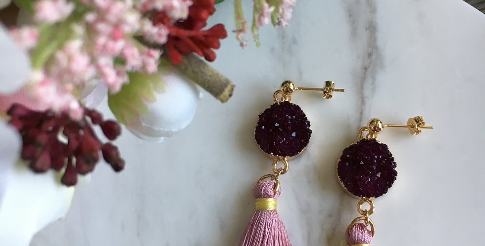 Crystallised Two-Tone Contrast Tassel Earrings