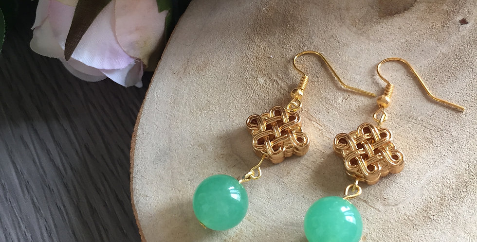 Endless Knot Green Aventurine Earrings