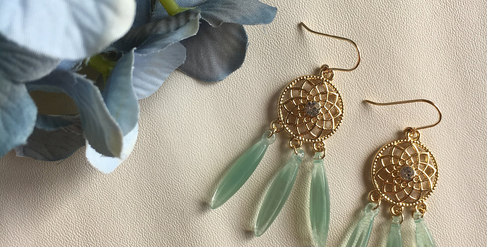Embellished Dream Catcher Resin Tassel Earrings
