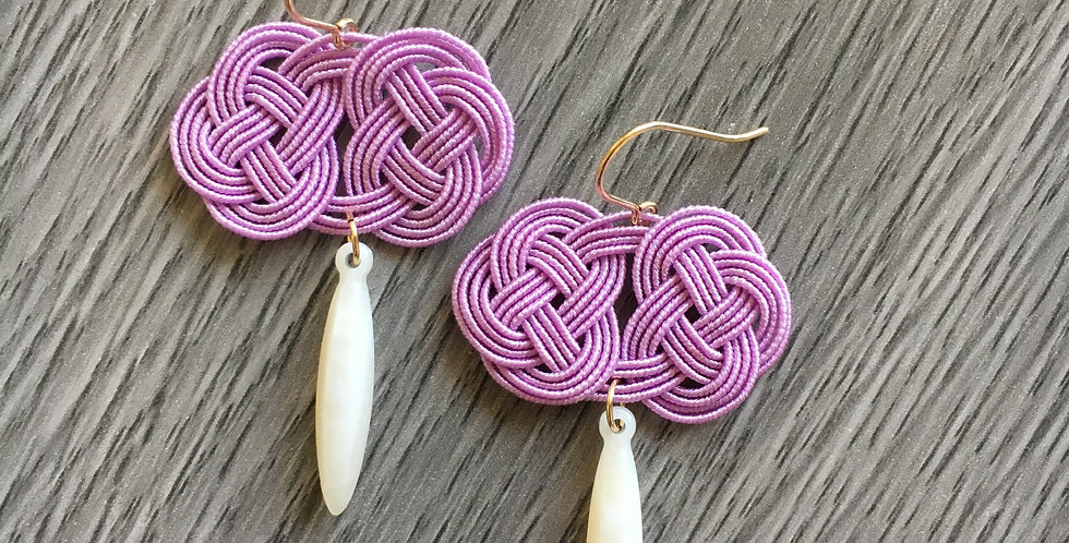 Woven Endless Knot Resin Drop Earring (Lilac)