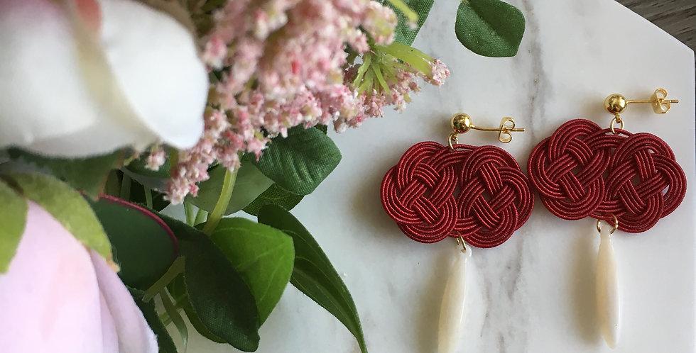 Woven Endless Knot Resin Drop Earring (Burgundy)