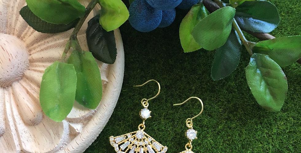 Gold-Tone Fan Paste Crystal Earrings