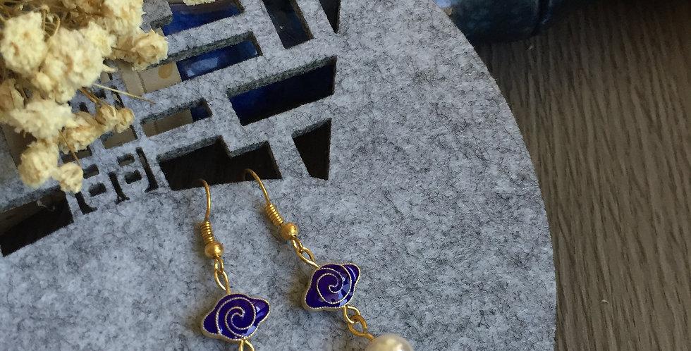 Ruyi Blue Enamel Freshwater Pearl Earrings