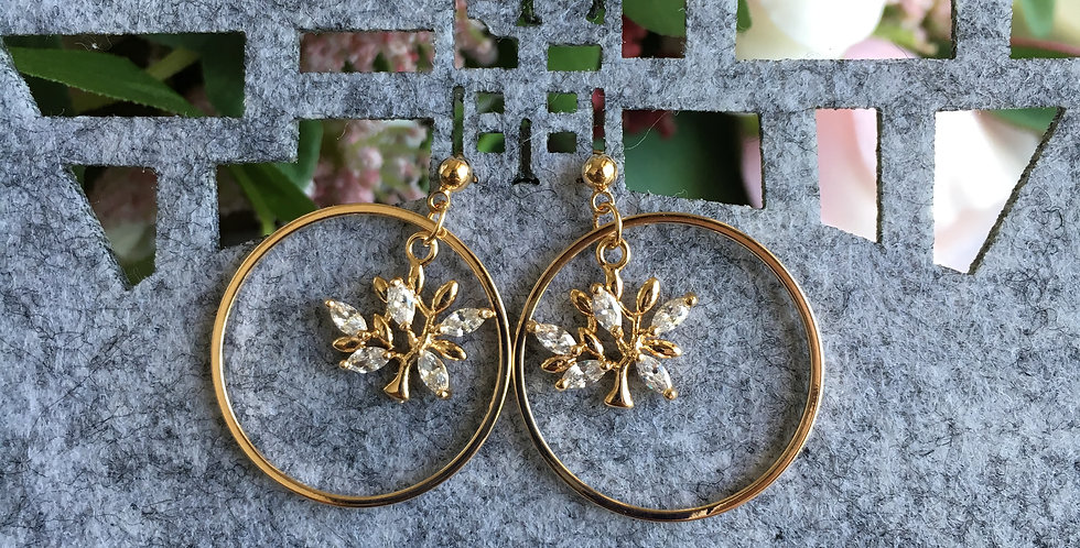 Gold-Tone Circle Crystal Tree Earrings
