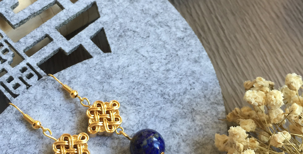 Endless Knot Lapis Lazuli Earrings