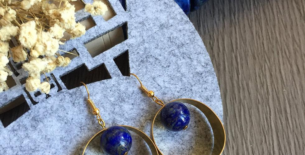 Geometric Full Circle Lapis Lazuli Earrings