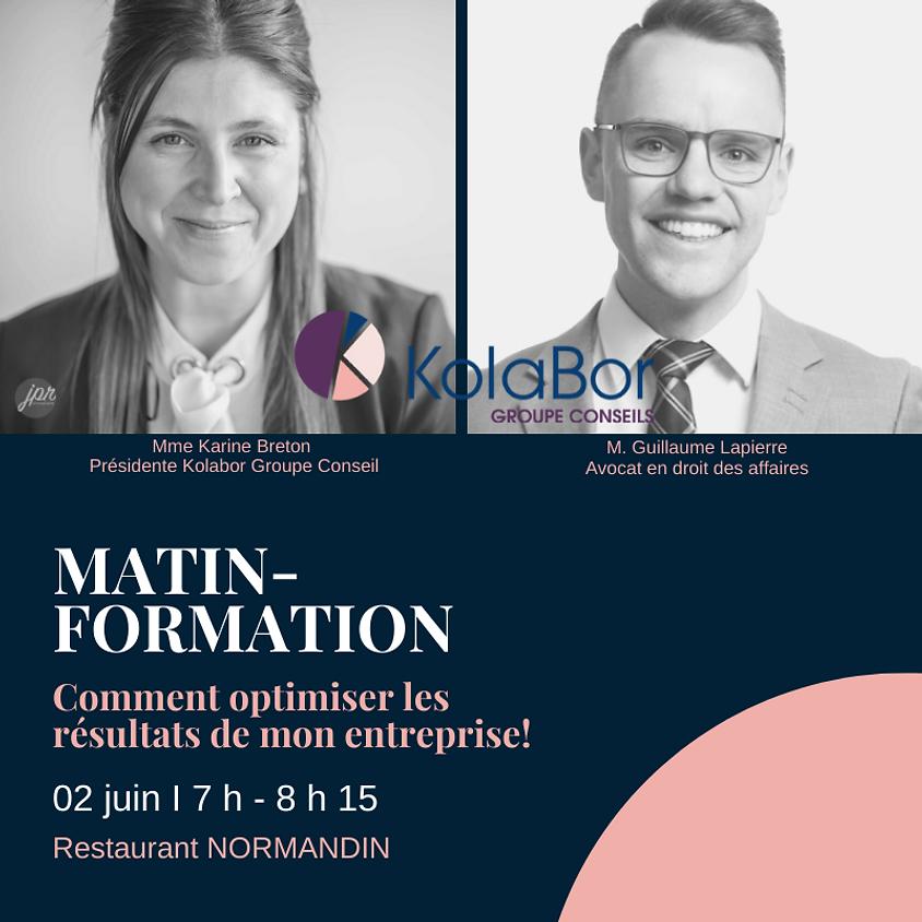 MATIN-FORMATION - Comment optimiser les résultats de mon entreprise