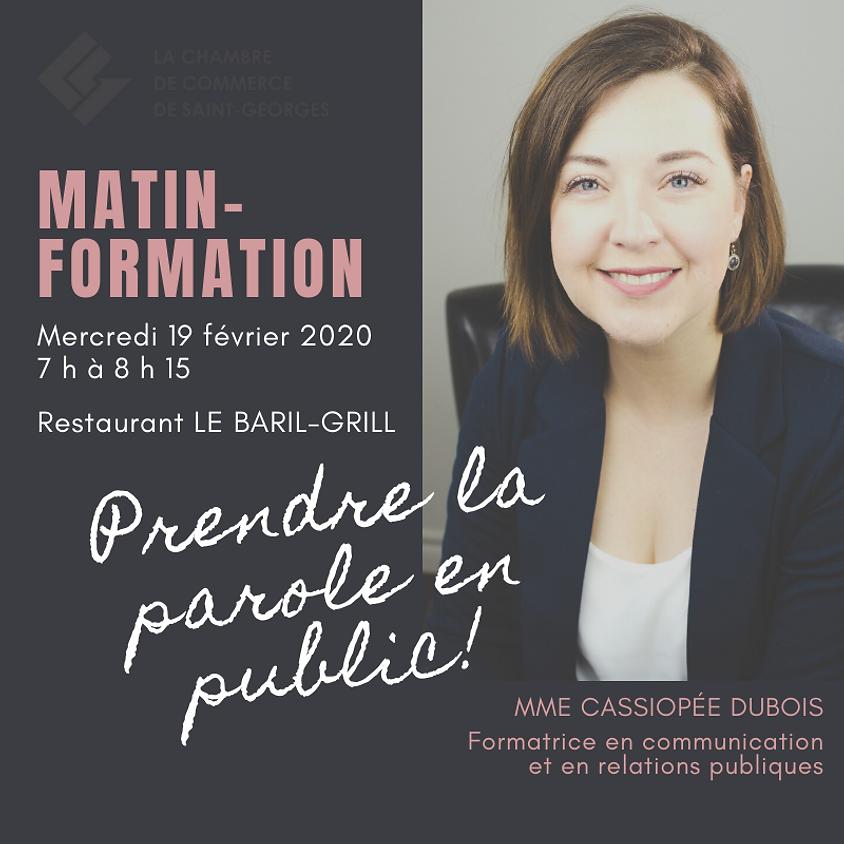 MATIN-FORMATION - Prendre la parole en public