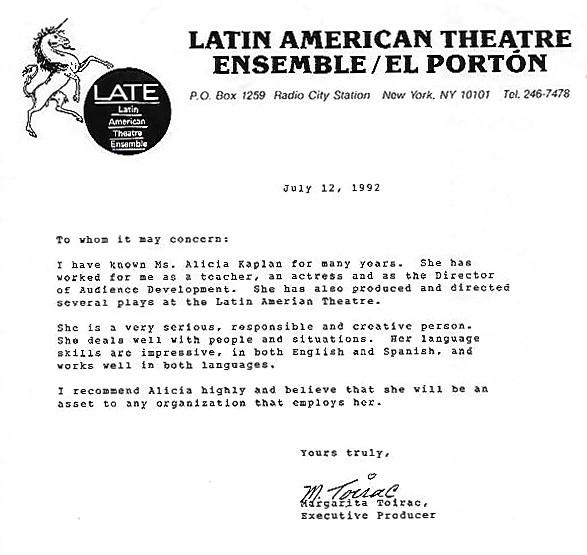 Latin Americam Theater Ensemble/ El Portón, Margarita Toirac