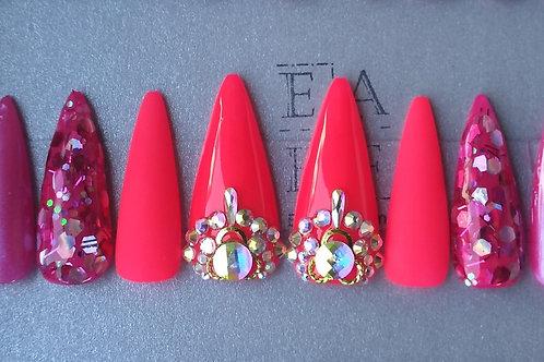 Fancy Pink Stiletto Nails