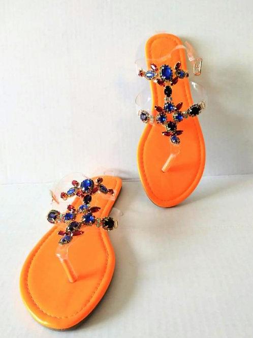 Orange Rhinestone Sandals