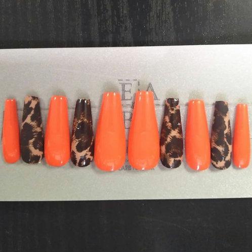 Orange Leopard Nail Set