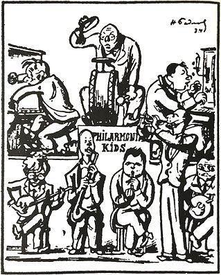 Karikatur zur Diffamierung der «linken Musik» aus dem Jahr 1933.In der unteren Reihe: Schostakowitsch, Prokofjew, Schebalin