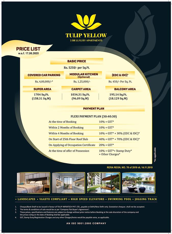 Tulip Yellow Price List NCR