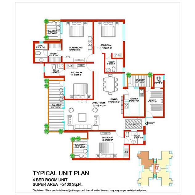 Tulip Ivory 4 BHK Bedroom Unit Plan.jpg