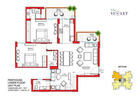 Penthouse Lower Floor Plan