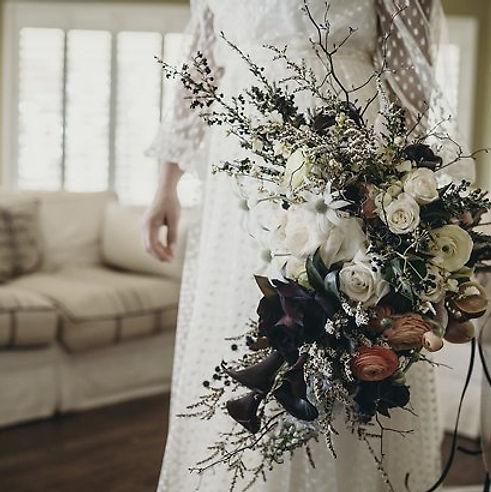 Bride wearing polka dot tulle wedding dress
