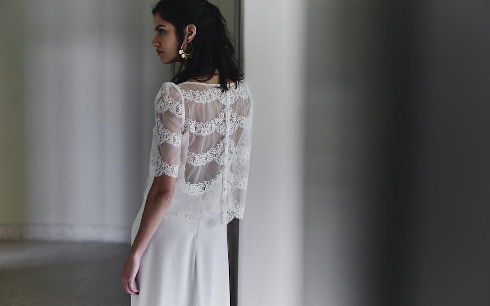 Laure de Sagazan two piece wedding dress from Carte Blanche Bride Melbourne