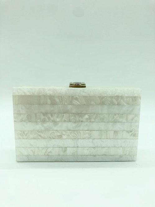 White Pearlescent Box Clutch