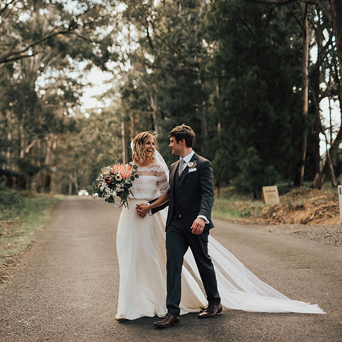 Bride wearing French lace wedding dress