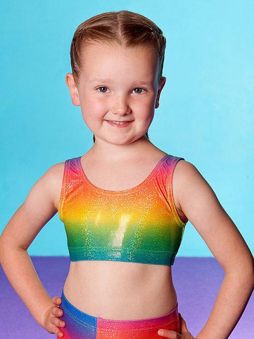 Rainbow Gymnastics hologram club crop top