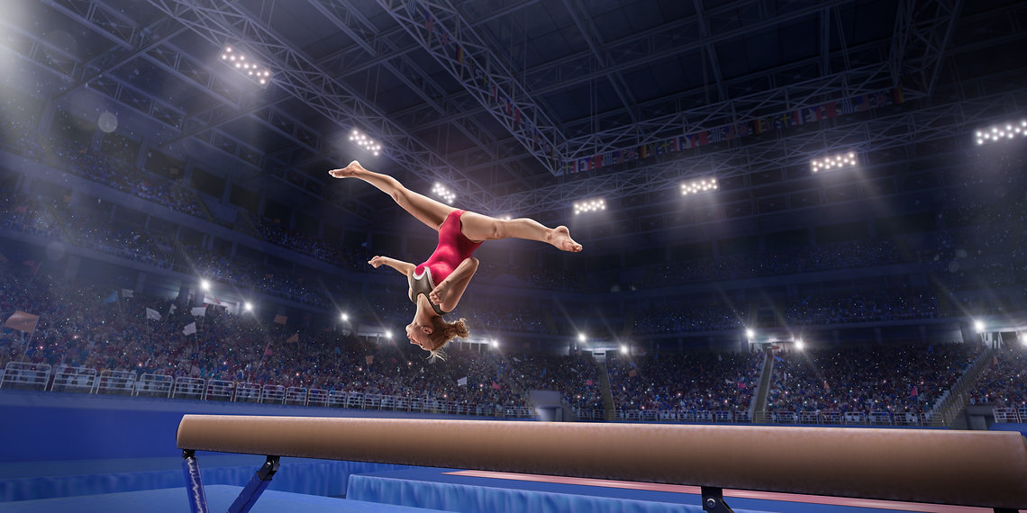 Female athlete doing a complicated excit