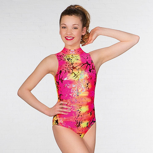Jill Polo Neck Printed Leotard Neon Hologram (pink)