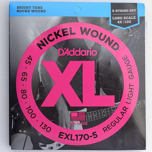 ENCORDOAMENTO BAIXO DADDARIO- 5 CORDAS - EXL170-5 0.45