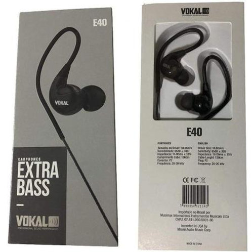 EARPHONES  EXTRA BASS VOKAL - E40 - PRETO