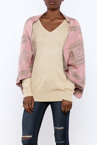 Coco + Carmen Abstract Tribal Reversible Shrug - Pink/Tan