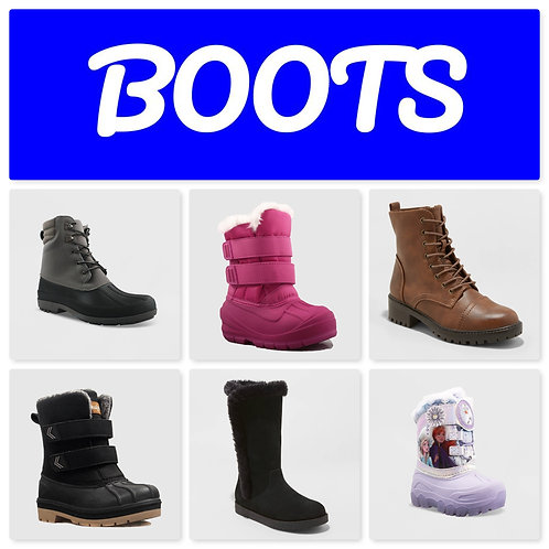 Case Lot of Boots for Kids, Men & Women - 17 Pairs - Manifested - Shelf Pulls