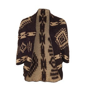 Coco + Carmen Abstract Tribal Reversible Shrug - Brown/Tan