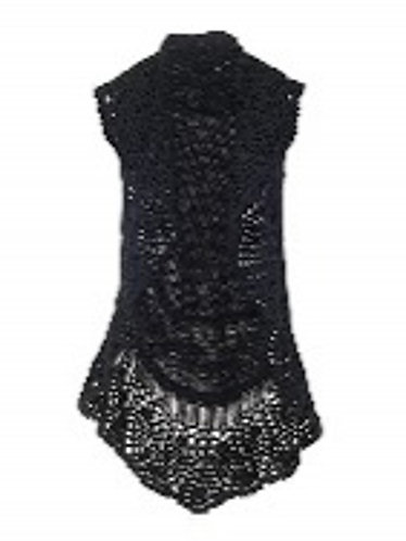 Coco + Carmen Crochet Collar Cable Vest - Black