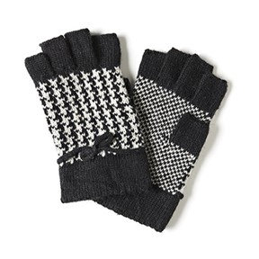 Coco + Carmen Houndstooth Fingerless Gloves - Black/White