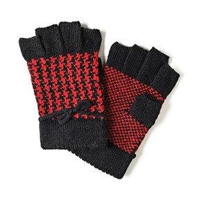 Coco + Carmen Houndstooth Fingerless Gloves - Red/Black
