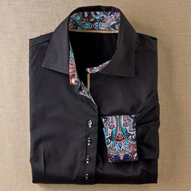 Coco + Carmen Beaumont Shirt - Onyx with Paisley