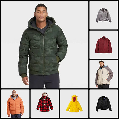 Fall/Winter Jackets for Men & Kids - 192 Units - New Overstock Condition