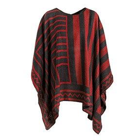 Coco + Carmen Nazca Blanket Poncho - Red/Black