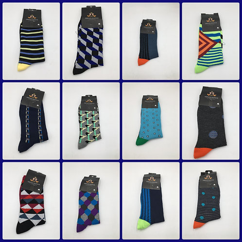 Case Lot of Assorted Men's Fashion Socks - 120 Pairs - Overstock Condition