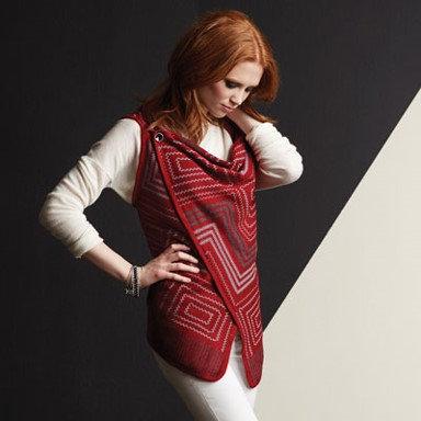 Coco + Carmen Button Shoulder Vest - Red/Gray