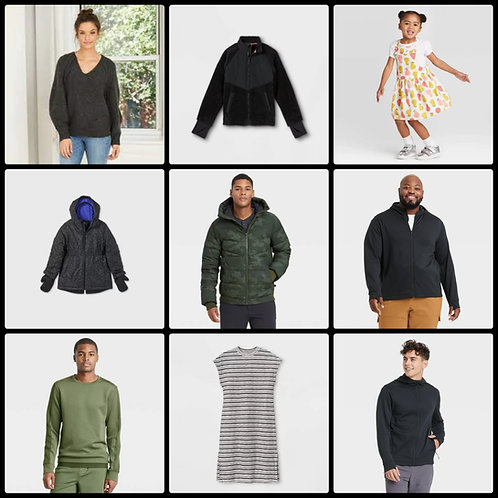 T@RGT Overstock Apparel  for Men, Women & Kids - 245 Units - Manifested