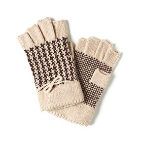 Coco + Carmen Houndstooth Fingerless Gloves - Tan