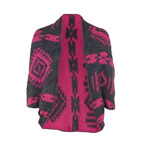 Coco + Carmen Abstract Tribal Reversible Shrug - Gray/Pink