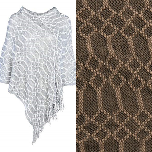 Coco + Carmen Honeycomb Poncho -Taupe